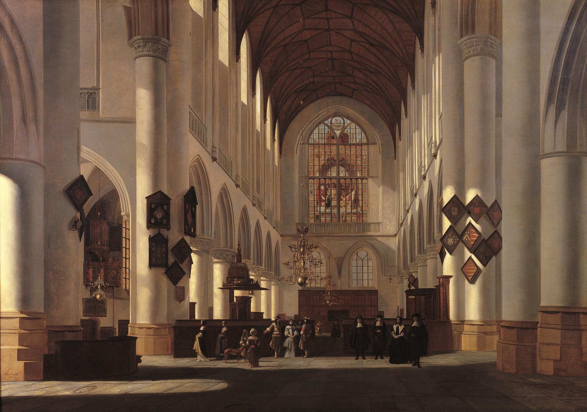 interieur van de grote of st bavokerk te haarlem gezien naar het westen interieur van de grote of st
