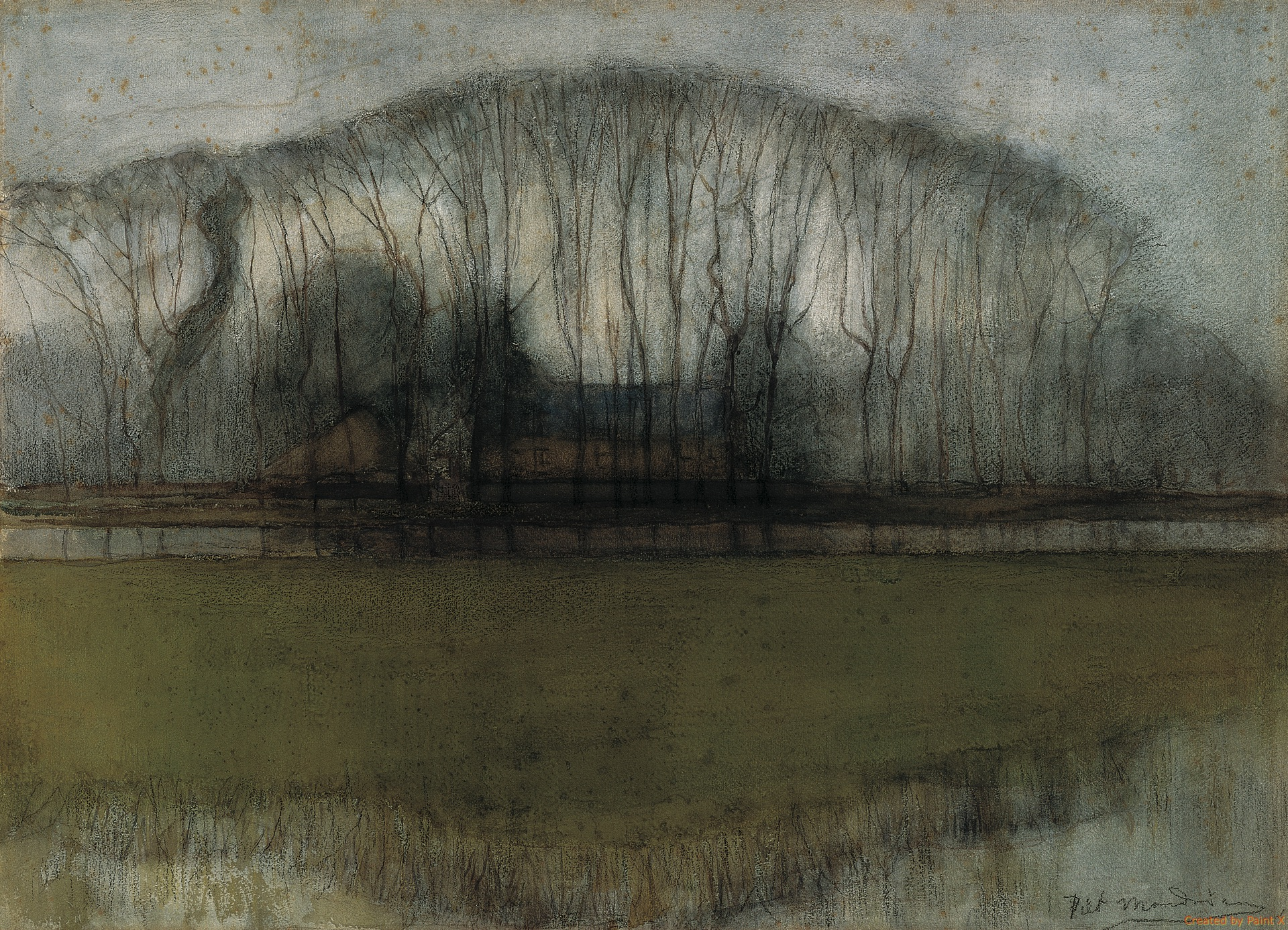 Line Of Trees In Marshy Landscape Frans Hals Museum